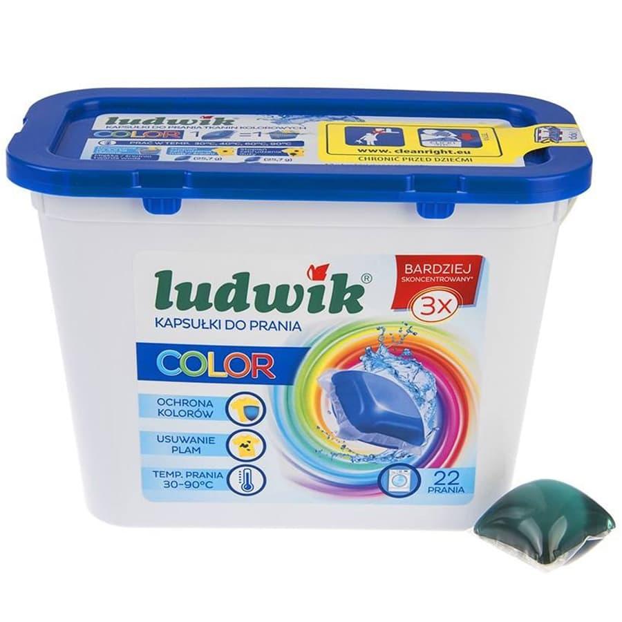 کپسول ژلهای ماشین لباسشویی لودویک لباسهای رنگی 22 عددی