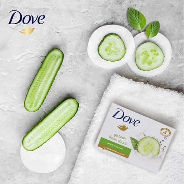 صابون داو 4 عددی مدل fresh touch با عصاره خیار و چای سبز 4*100 گرم