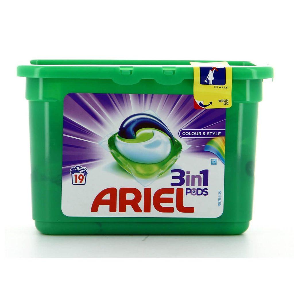 قرص ماشین لباسشویی 3 در 1 ARIEL مدل Colour and Style تعداد 19 عددی